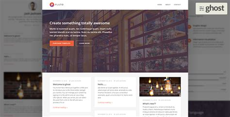 blog themes for ghost pluto minimal ghost blog by themewoodmen themeforest