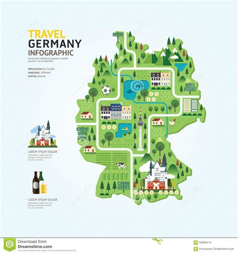 layout landmark 6 infographic travel and landmark germany map shape template