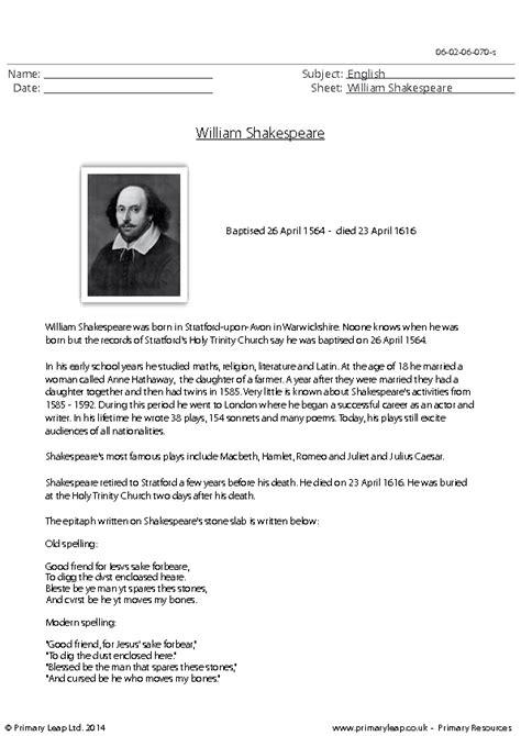 Reading Comprehension William Shakespeare