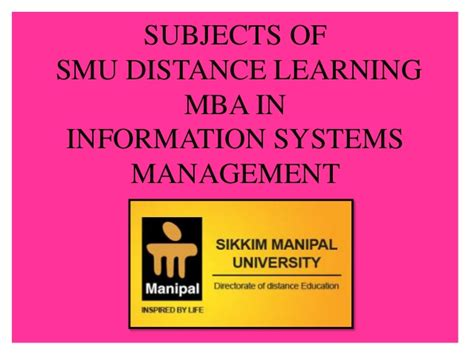 Mba In Information Systems In Michigan by Smu Distance Learning Mba In Information System Management