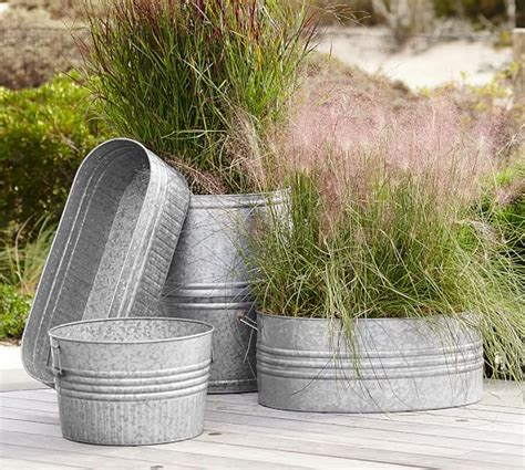 eclectic galvanized metal planters pottery barn
