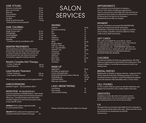 Hair Style Books For Salon 2017 Price by 25 Best Ideas About Salon Menu On Hair Salon