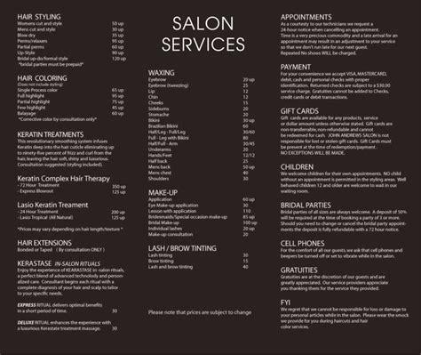 price card menu template for hair salon 25 best ideas about salon menu on hair salon