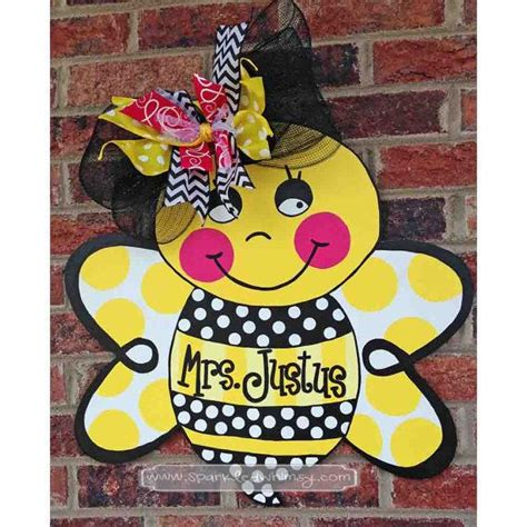 bumble bee home decor personalized bumble bee door hanger sign housewares home