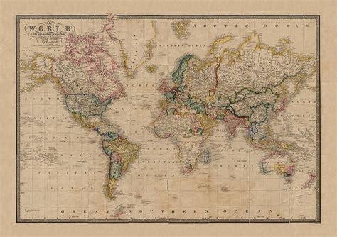vintage world map vintage style world map by i retro notonthehighstreet