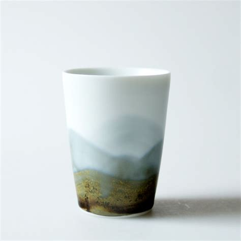 Ceramic Cup china craft collection distant mountains drawing