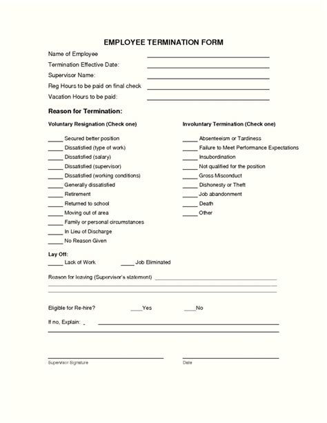 template termination of employment employee termination form template template update234