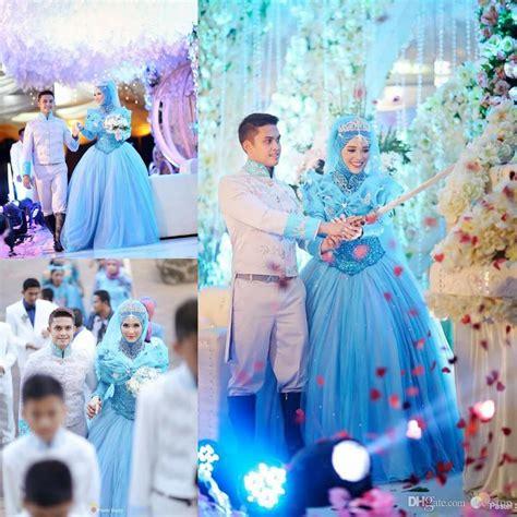 2016 cinderella muslim wedding dresses with long sleeves
