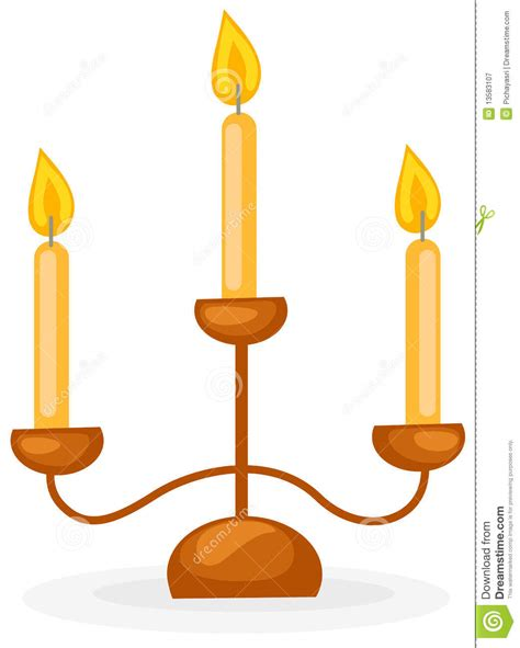 kerzenhalter clipart candlestick with three candles stock vector image 13583107