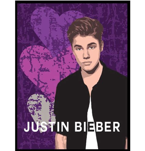 justin bieber hearts plush blanket purple