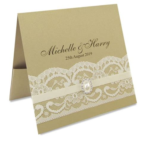 lace wedding invitations vintage lace flat front pocketfold invitation