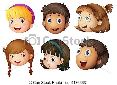 vectors of kids faces illustration of a kids faces on a