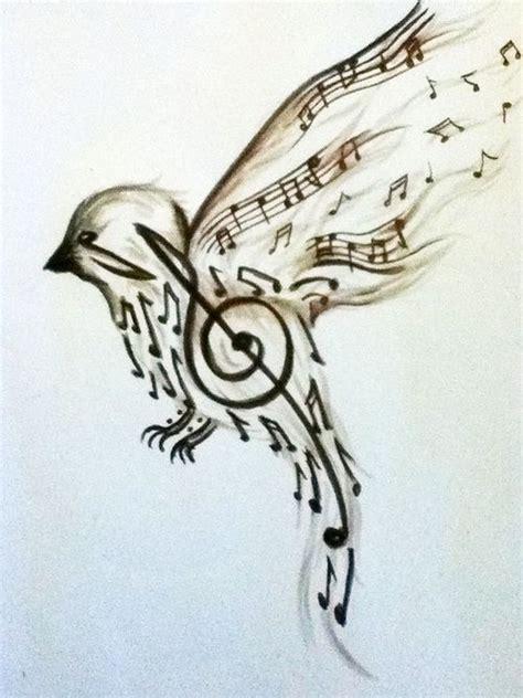 bird music notes tattoo designs bass clef with sheet designs bird