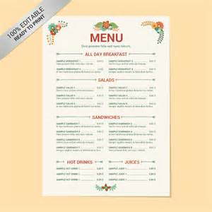 Menu Template Doc by Free Menu Template 21 Free Word Pdf Documents