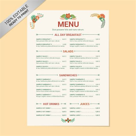 22 Free Menu Templates Pdf Doc Excel Psd Free Premium Templates Indian Menu Template Free