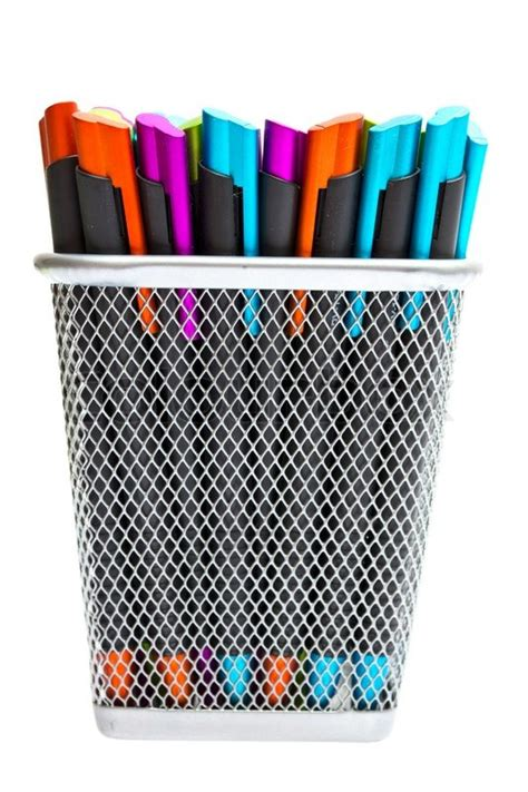 colored ballpoint pens multi colored ballpoint pens in pencil holders stock