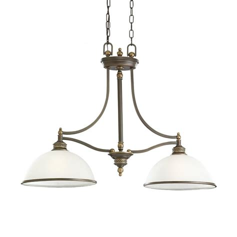 bronze kitchen lighting shop sea gull lighting laurel leaf 12 in w 2 light estate bronze kitchen island light with white