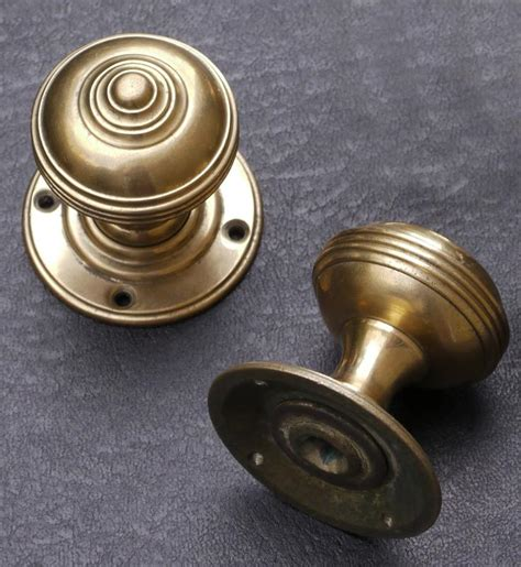 turban knob set real bronze for mortise latch