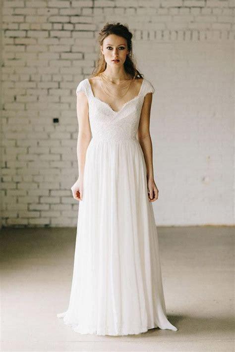 ivory lace cap sleeve vintage chiffon wedding