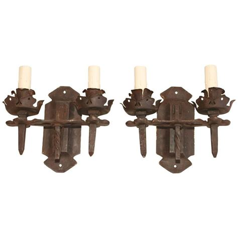 beautiful 1920 rustic handmade wrought iron sconces for
