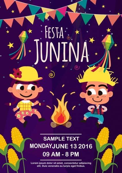 acara poster anak anak lucu api pita bintang dekorasi