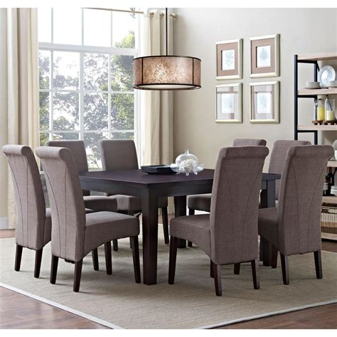 simpli home acadian 7 light mocha dining set simpli home avalon 9 light mocha dining set axcds9 avl lml the home depot