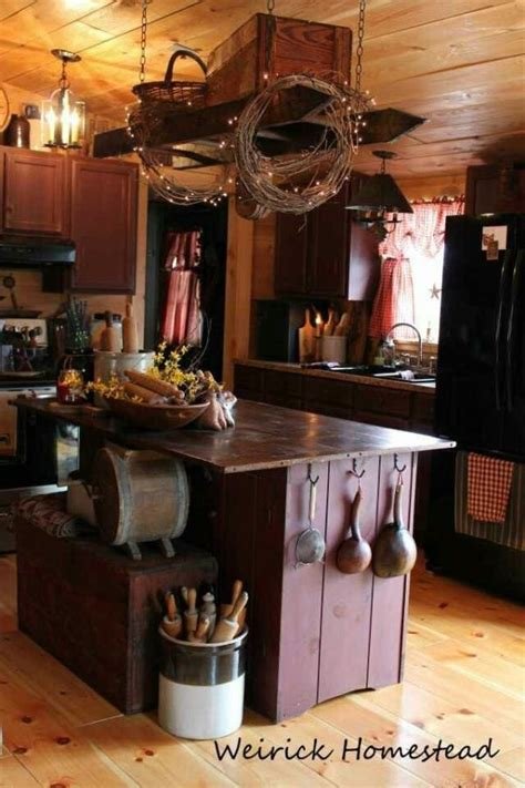 primitive country kitchen decor primitive kitchen ladder hanging from the ceiling