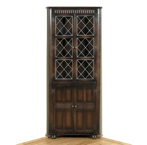 corner oak cabinet with doors vintage oak corner curio bookcase cabinet w astragal