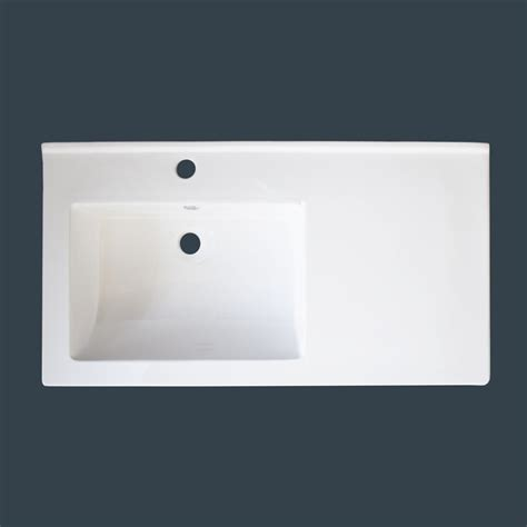 Offset Sink Vanity Top img bath white ceramic vanity top with integral offset