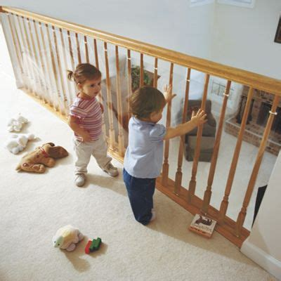 banister safety guard clear banister guard kit for kids safety and 15 ft roll kit from one step ahead