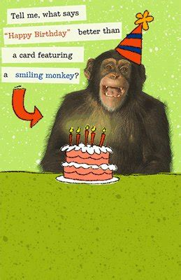Printable Birthday Cards With Monkeys | smiling monkey greeting card happy birthday printable