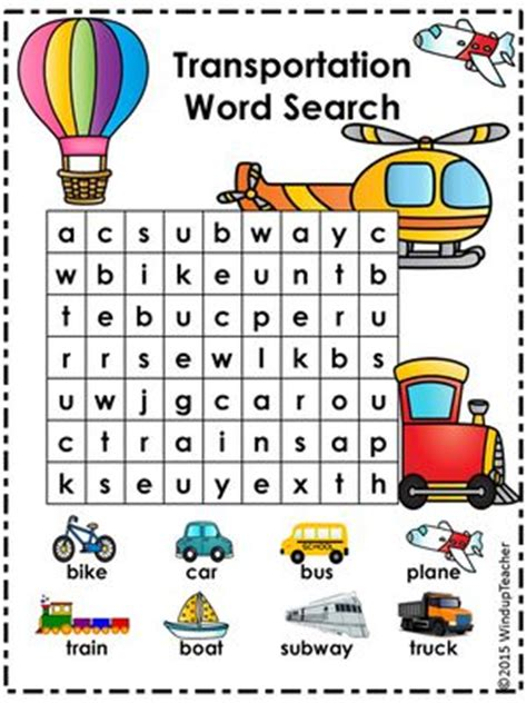 printable word search 5 year old search with picture word search and transportation on
