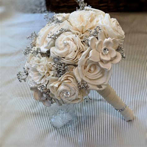 Handmade Flower Bouquet - handmade wedding bouquet small ivory silver bridal bouquet