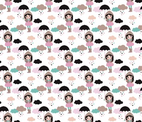 umbrella pattern fabric adorable girl with umbrella in rain drop hearts
