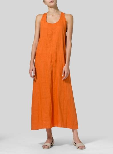 Linen A Line Maxi Dress orange linen a line maxi dress plus size