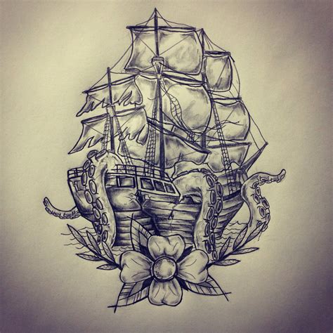 tattoo design sketch ship octopus sketch drawing by ranz