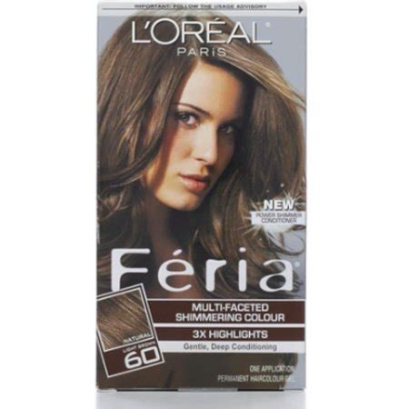 l oreal feria 174 multi faceted shimmering colour hair color shop your way shopping l oreal feria multi faceted shimmering color 60 light brown 1 ea pack of 6 walmart