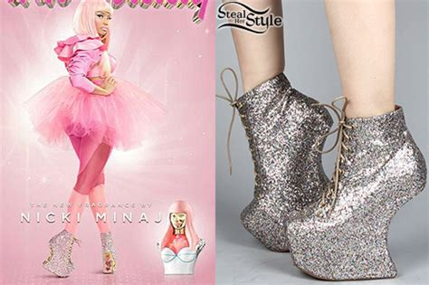 nicki minaj heel less glitter boots style
