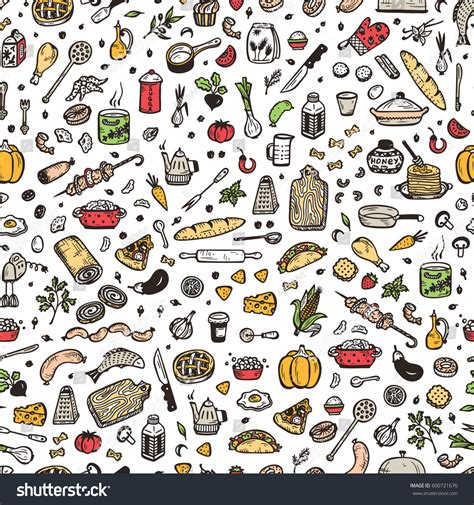 doodle food eps cooking vector seamless pattern stock vector