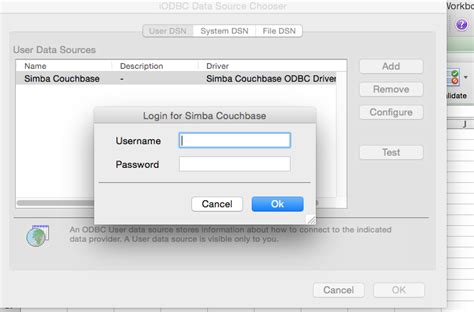 docker tutorial exle using the couchbase odbc driver with microsoft excel the