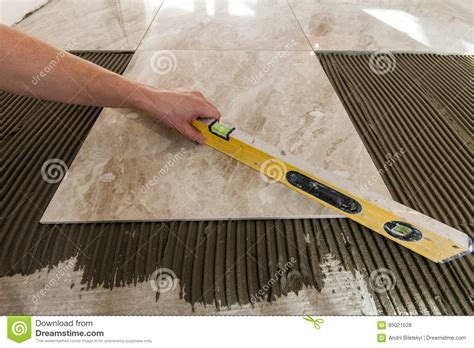 ceramic tiles and tools for tiler floor tiles installation hom stock photo image 85021528