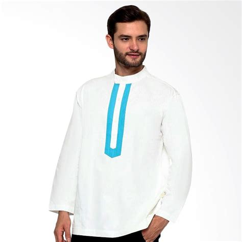 Baju Koko Putih Revkaz jual sha baju koko lengan panjang putih biru