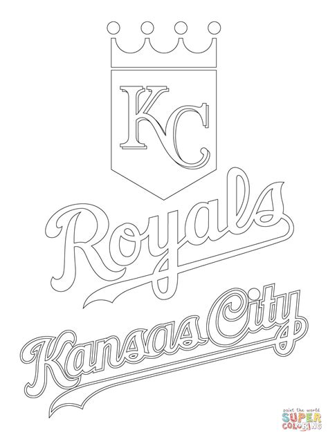 Kansas City Royals Logo Coloring Page Free Printable Kc Colour Pages
