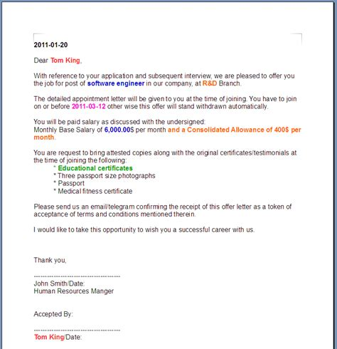 printable sle offer letter template form laywers