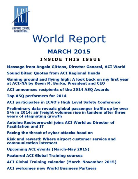 aci customer experience management summit 2015 aci aci world report march 2015 by airports council
