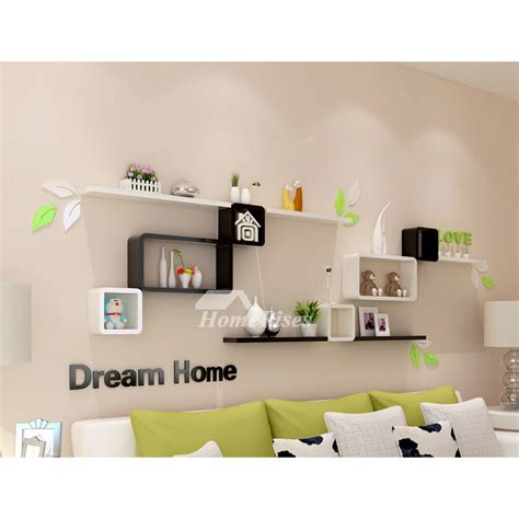 bedroom wall shelves decorative wooden square unique