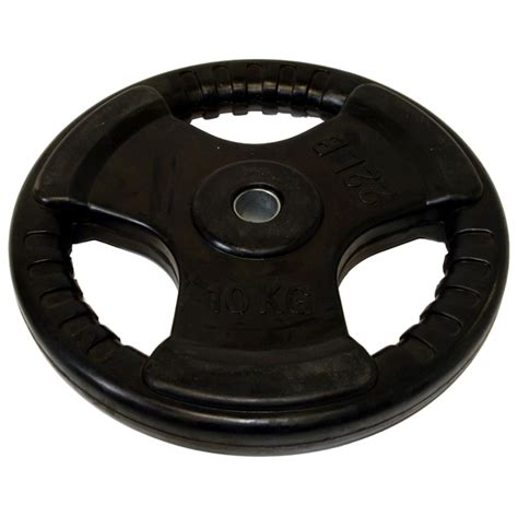 Olahraga Fitness Senam Rubberized Weight Plate 10kg 10kg standard tri grip rubber coated weight plate