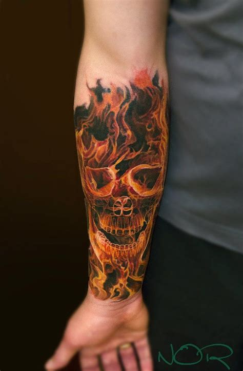 skull with flames tattoo skull and flames tattoos