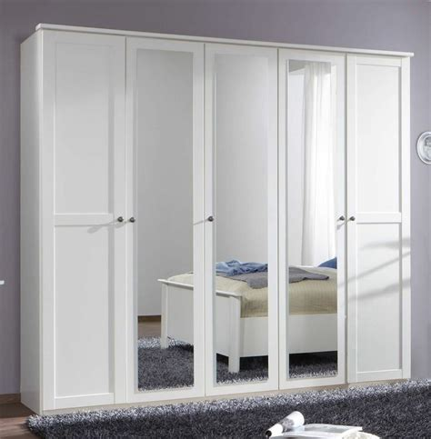 Large Bedroom Wardrobes German Chalet Shaker Style White Large 5 Door Mirror