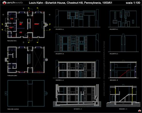 home cad esherick house autocad dwg project 오토캐드
